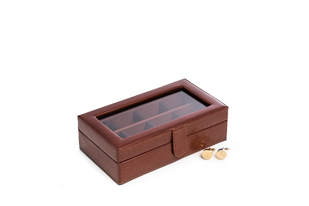 Bey-Berk Leather 12 Cufflink Box with Glass Top, , large