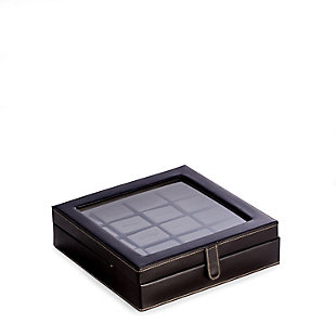 Bey-Berk Leather 20 Cufflink Box with Glass Top and Snap Closure, , rollover