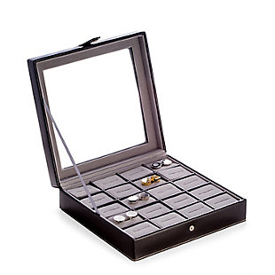 Bey-Berk Leather 20 Cufflink Box with Glass Top and Snap Closure, , large