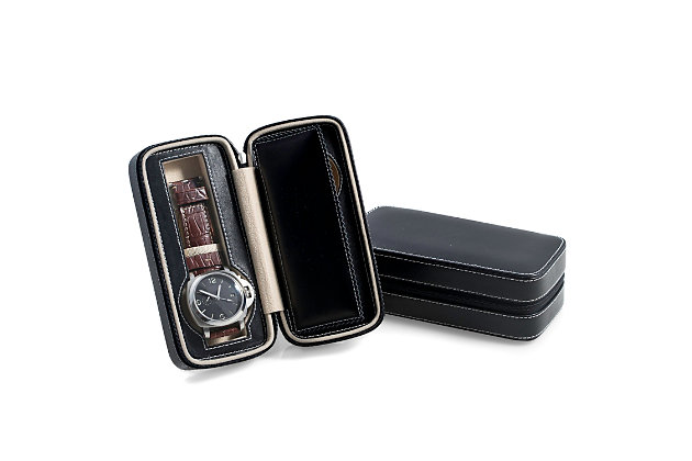 Bey-Berk Leather Two Watch Travel Case, , large