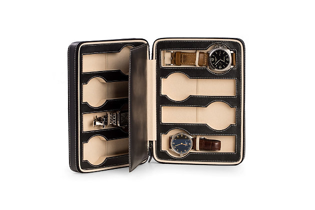 Bey-Berk Leather 8 Watch Storage / Travel Case, , large