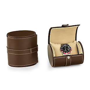 Bey-Berk Leather Single Watch Travel Case with Snap Closure, , large