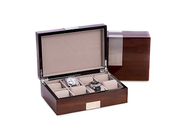 Bey-Berk Wood 8 Watch Box with Stainless Steel Accents, , large