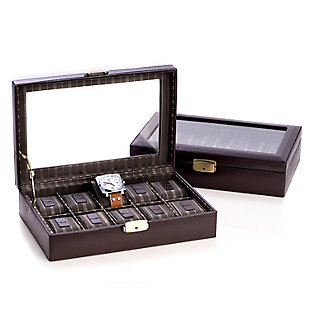 Bey-Berk Leather 10 Watch Case with Glass Top and Locking Clasp, , large