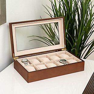Bey-Berk Cherry Wood 10 Watch Box, , large