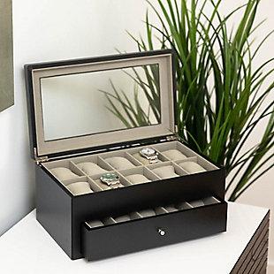 Bey-Berk Matte Wood 20 Watch Box, , large