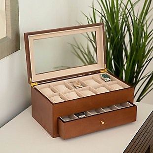 Bey-Berk Cherry Wood 20 Watch Box, , large