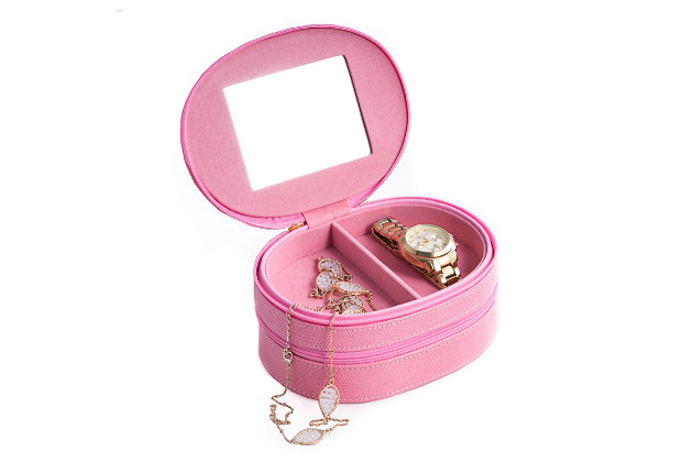 Bey-Berk Leather Two Level Jewelry Case with Mirror, , large
