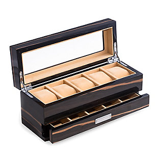 Bey-Berk Wood 5 Watch Box with 5 Compartment Accessory Drawer, , large