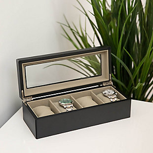 Bey-Berk Matte Wood 4 Watch Box, , large