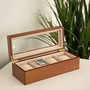 Bey-Berk Cherry Wood 4 Watch Box, , large
