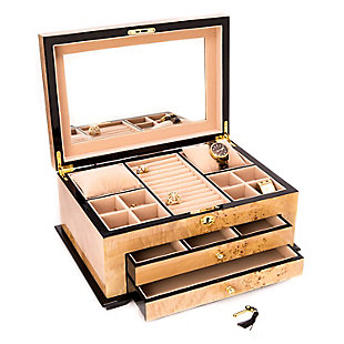 Bey-Berk Wood 3 Level Jewelry Box, , large