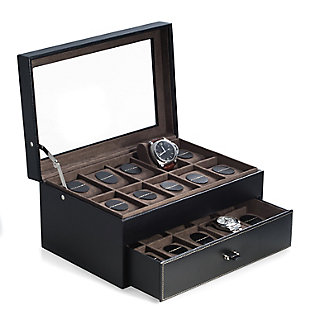 Bey-Berk Pebbled Leather 20 Watch Case, , large