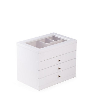 Bey-Berk Wood Jewelry Case with 3 Drawers and Glass See-thru Top, , rollover