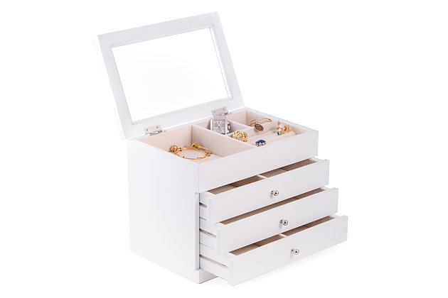 Bey-Berk Wood Jewelry Case with 3 Drawers and Glass See-thru Top, , large