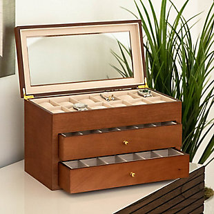 Bey-Berk Cherry Wood 36 Watch Box, , large
