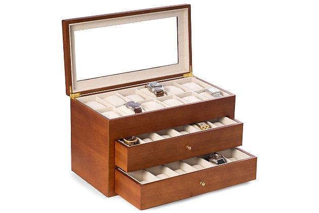 Bey-Berk Cherry Wood 36 Watch Box, , large