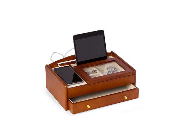 Bey-Berk Cherry Wood Valet Box, , large