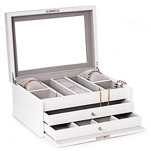 Bey-Berk Large Jewelry Chest with Multi-Comparment Storage, , large