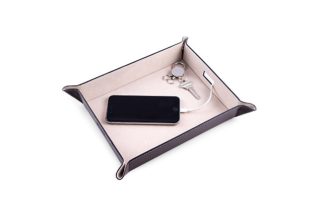 Bey-Berk Leather Valet and Charging Station, , large