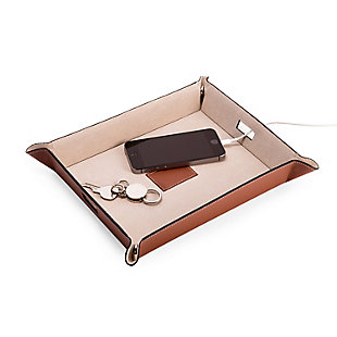 Bey-Berk Saddle Leather Valet and Charging Station, , large