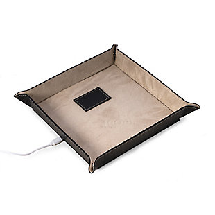 Bey-Berk Leather Valet Tray with Wireless Charger, , rollover