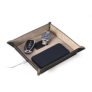 Bey-Berk Leather Valet Tray with Wireless Charger, , large