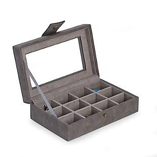 Bey-Berk 12 Cufflink Storage Case with Velour Lining, , large