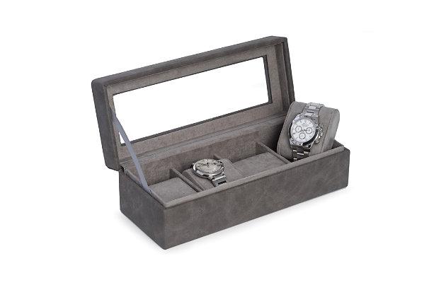 Bey-Berk 4 Watch Storage Case with Velour Lining, , large