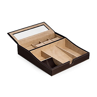 Bey-Berk Leather Valet Tray with Multi-Comparment Storage, , large