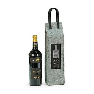 Bey-Berk Uncork & Unwind Felt Wine Tote With Black Accents, , rollover