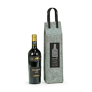 Bey-Berk Uncork & Unwind Felt Wine Tote With Black Accents, , large