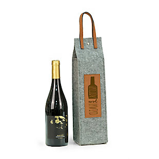 Bey-Berk Uncork & Unwind Felt Wine Tote With Brown Accents, , rollover
