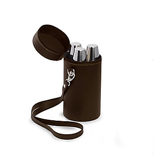 Bey-Berk Seven Piece Stainless Steel Flask Set In Brown Leather Carrying Case, , large