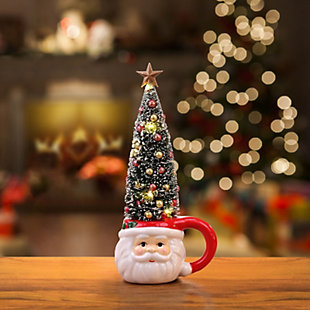 Mr. Christmas  Lit Mug with Sisal Tree - Santa, , large