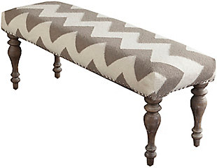 Home Accents  Cream Traditional Upholstered Bench, , large
