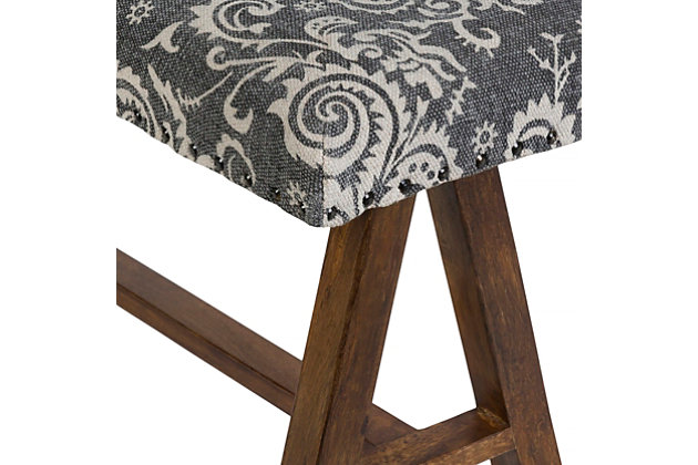 Home Accents  Black Traditional Upholstered Bench, Grey, large