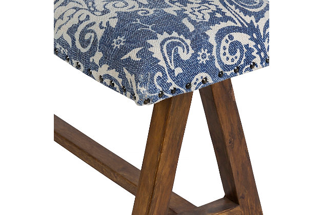 Home Accents  Navy Traditional Upholstered Bench, Blue, large