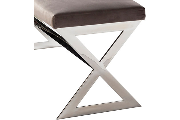 Home Accents  Medium Gray Modern Upholstered Bench, , large
