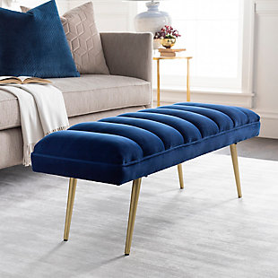Home Accents  Navy Modern Upholstered Bench, , rollover