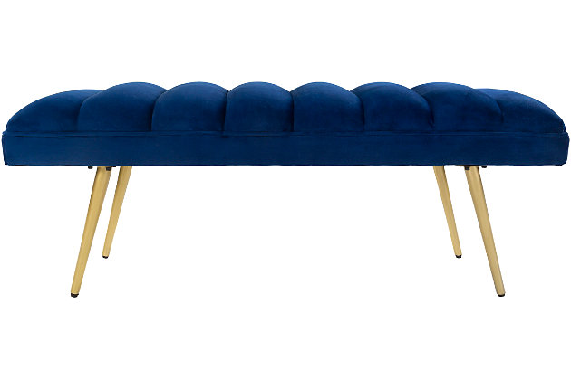 Home Accents  Navy Modern Upholstered Bench, , large
