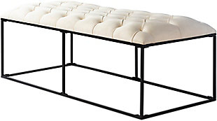 Home Accents  Ivory Modern Upholstered Bench, , large