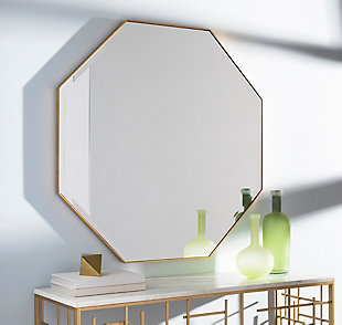 Home Accents  Gold Modern Wall Mirror, Metallic, rollover
