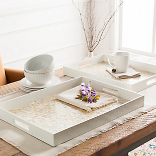 Home Accents  White Global Decorative Tray Set, White, rollover
