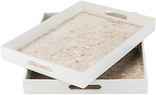 Home Accents  White Global Decorative Tray Set, White, large
