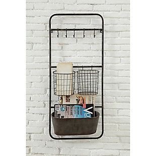 Creative Co-Op Metal Wall Rack with 5 Hooks and 3 Baskets, , rollover