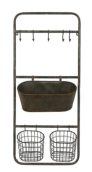 Creative Co-Op Metal Wall Rack with 5 Hooks and 3 Baskets, , large