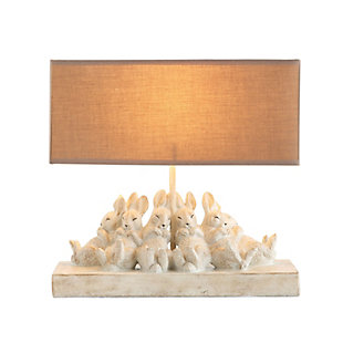 Creative Co-Op Resin Rabbit Table Lamp with Rectangle Sand Color Linen Shade, , large