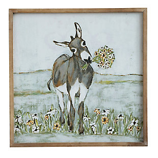 Creative Co-Op Donkey Wall Decor in Wood Frame, , large