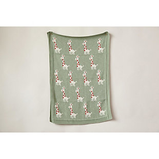 Green Cotton Knit Giraffe Blanket, , rollover